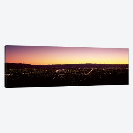 City lit up at dusk, Silicon Valley, San Jose, Santa Clara County, San Francisco Bay, California, USA #2 Canvas Print #PIM9395} by Panoramic Images Canvas Print
