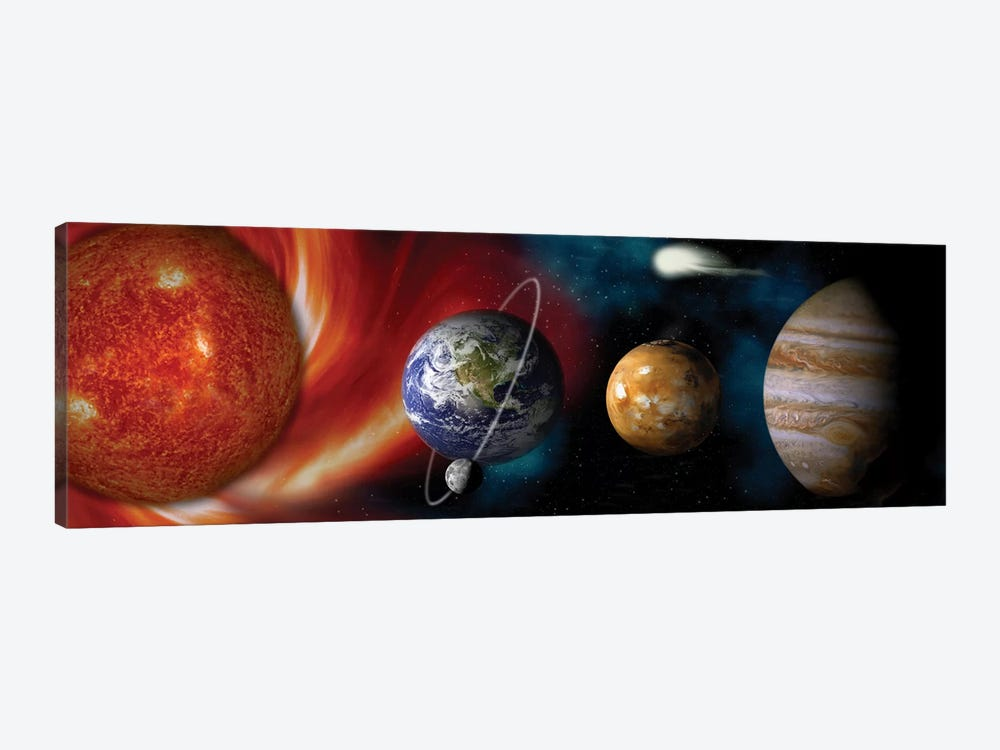 Sun and planets by Panoramic Images 1-piece Canvas Wall Art