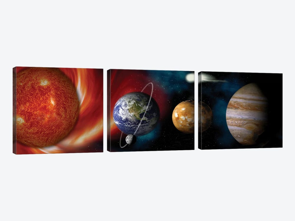 Sun and planets by Panoramic Images 3-piece Canvas Artwork