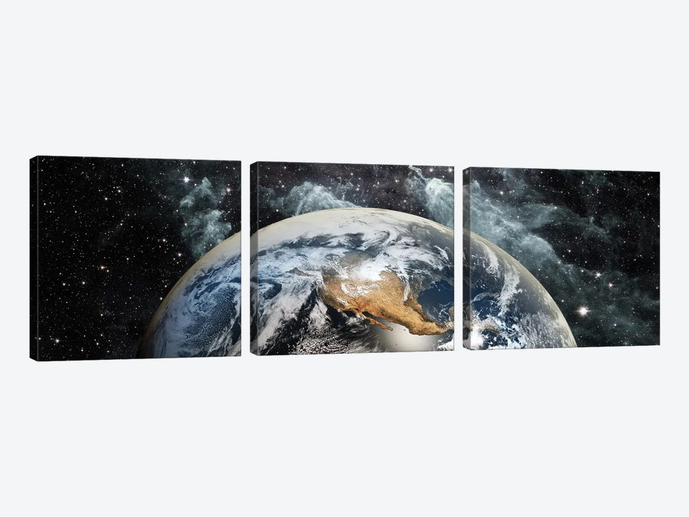 Earth in space by Panoramic Images 3-piece Canvas Art Print