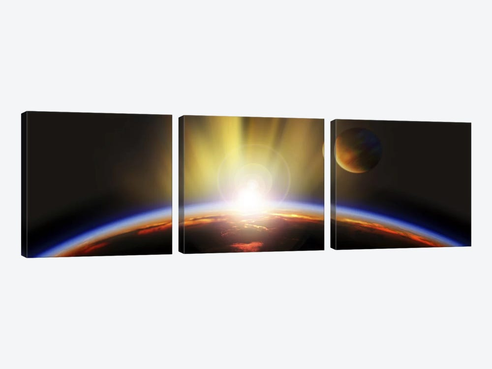 Sunrise over earth by Panoramic Images 3-piece Canvas Wall Art