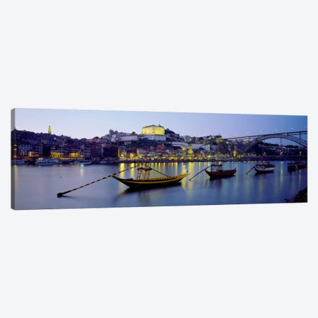 Boats In A River, Douro River, Porto, Portugal Canvas Print #PIM940} by Panoramic Images Art Print