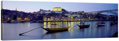 Boats In A River, Douro River, Porto, Portugal Canvas Art Print