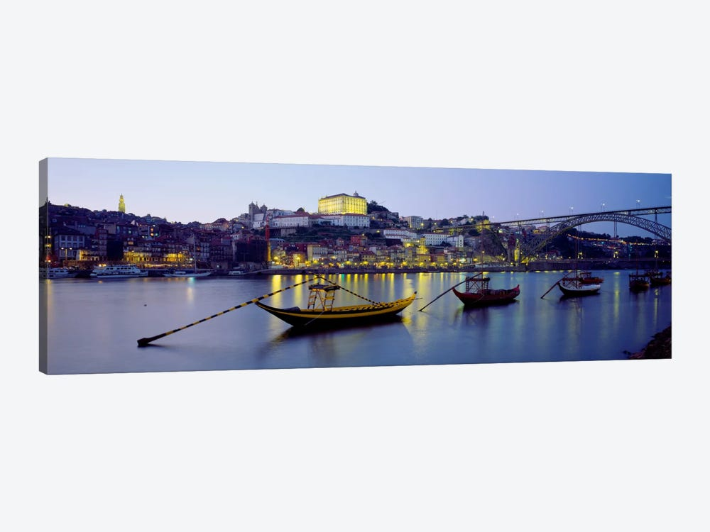 Boats In A River, Douro River, Porto, Portugal by Panoramic Images 1-piece Canvas Artwork