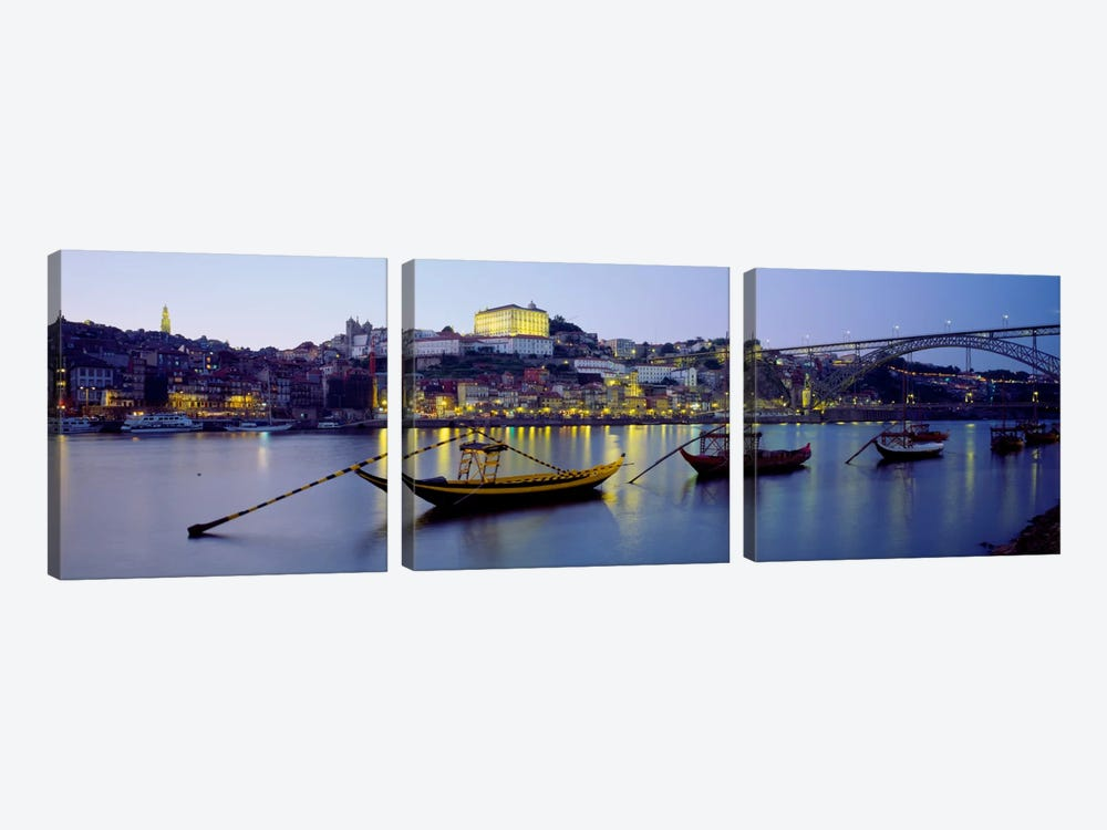 Boats In A River, Douro River, Porto, Portugal by Panoramic Images 3-piece Canvas Wall Art