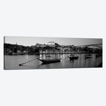 Boats In A RiverDouro River, Porto, Portugal (black & white) Canvas Print #PIM940bw} by Panoramic Images Canvas Art Print