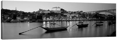 Boats In A RiverDouro River, Porto, Portugal (black & white) Canvas Print #PIM940bw