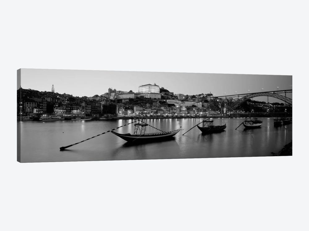 Boats In A RiverDouro River, Porto, Portugal (black & white) by Panoramic Images 1-piece Art Print