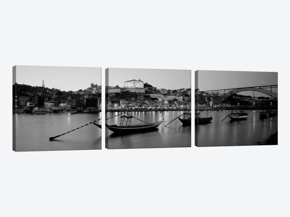 Boats In A RiverDouro River, Porto, Portugal (black & white) by Panoramic Images 3-piece Art Print