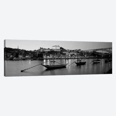 Boats In A RiverDouro River, Porto, Portugal (black & white) Canvas Print #PIM940bw} by Panoramic Images Canvas Art Print