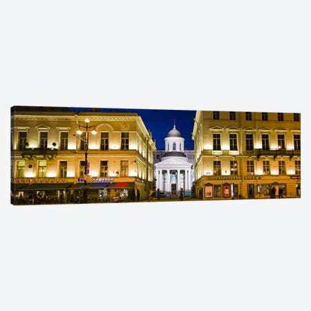 Buildings in a city lit up at night, Nevskiy Prospekt, St. Petersburg, Russia Canvas Print #PIM9421} by Panoramic Images Canvas Wall Art
