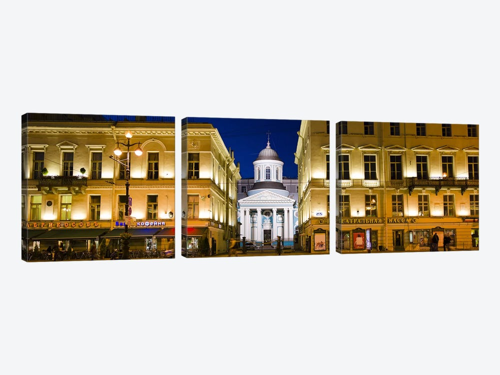 Buildings in a city lit up at night, Nevskiy Prospekt, St. Petersburg, Russia by Panoramic Images 3-piece Canvas Print