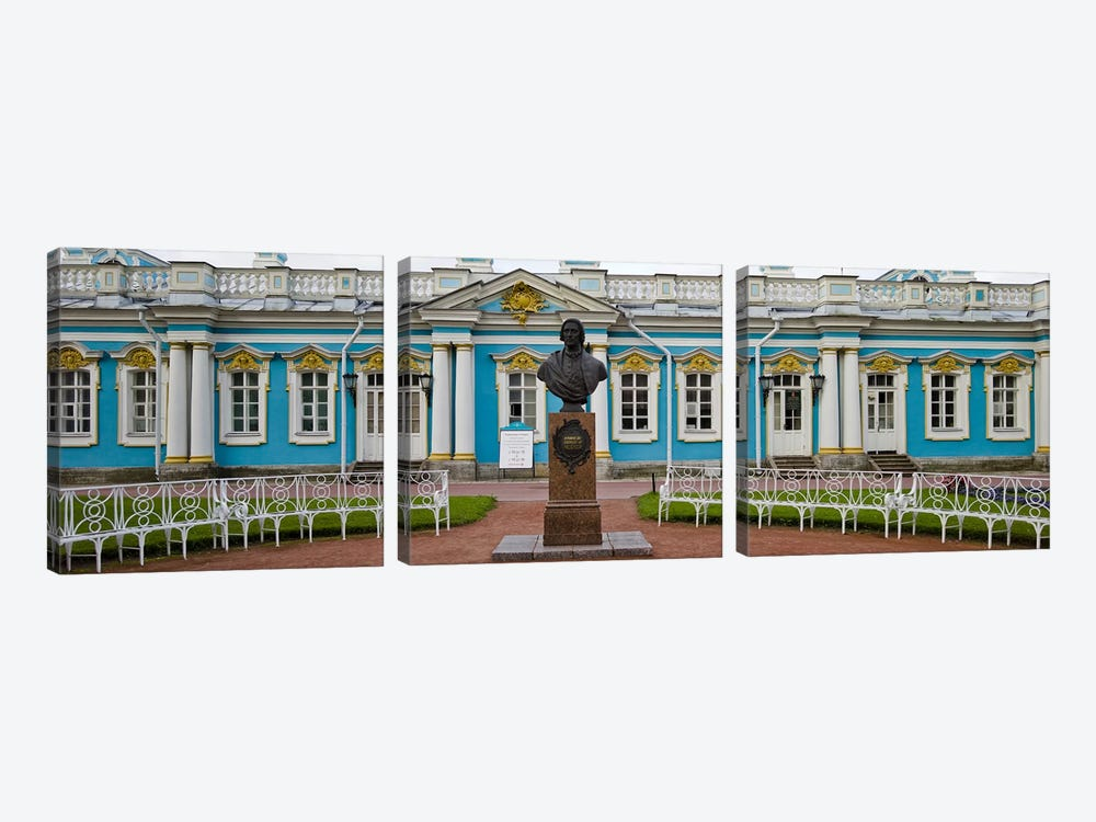 Facade of a palace, Tsarskoe Selo, Catherine Palace, St. Petersburg, Russia by Panoramic Images 3-piece Canvas Wall Art