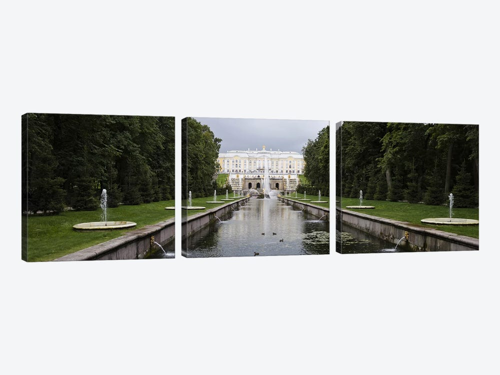 Canal at Grand Cascade at Peterhof Grand Palace, St. Petersburg, Russia by Panoramic Images 3-piece Canvas Wall Art
