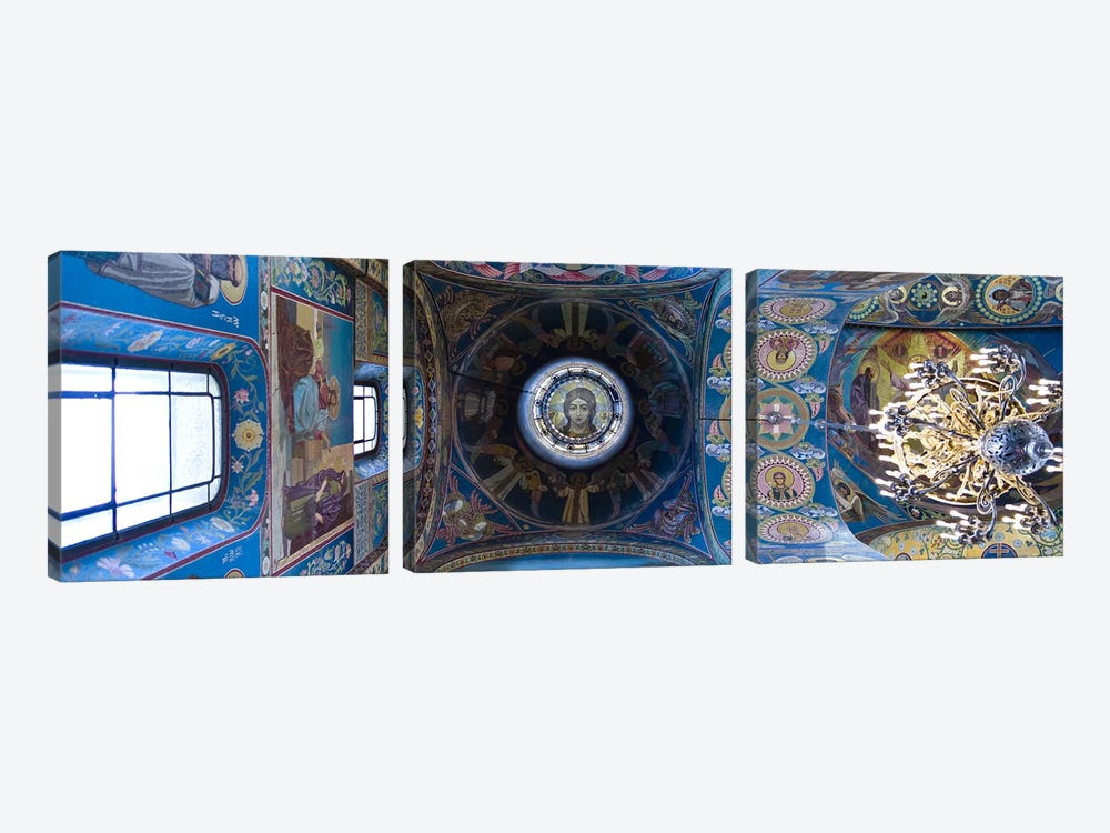 Interiors of a church, Church of The Savior On Spilled Blood, St. Petersburg, Russia by Panoramic Images 3-piece Canvas Art Print