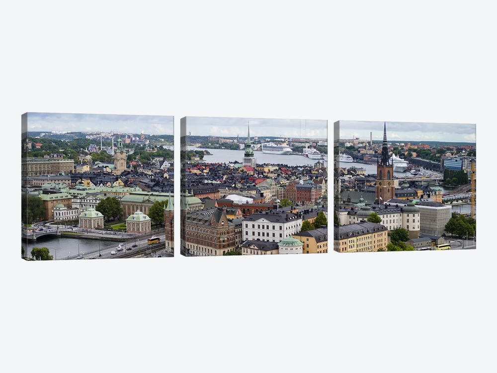 High-Angle View Of Gamla Stan (Old Town), Stockholm, Sweden by Panoramic Images 3-piece Art Print