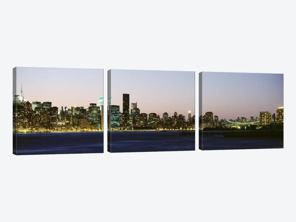 Skyscrapers at the waterfront, New York City, New York State, USA #3 by Panoramic Images 3-piece Canvas Art