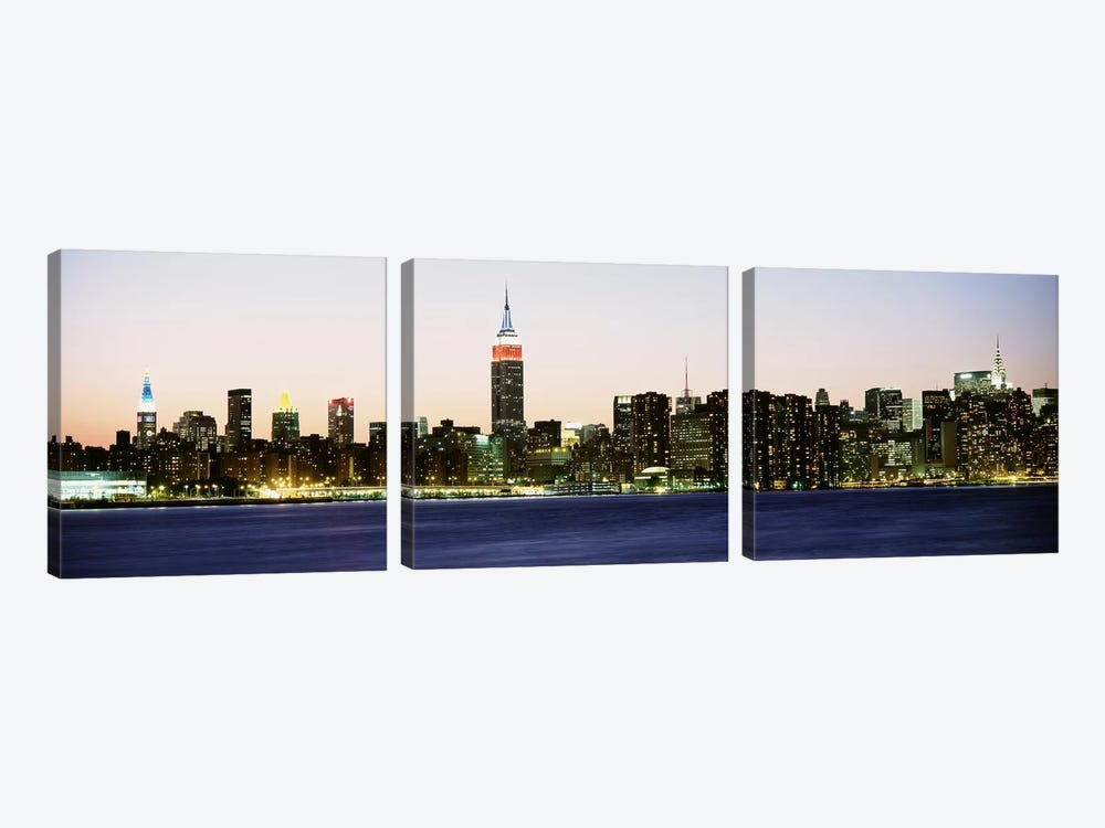 Skyscrapers at the waterfront, New York City, New York State, USA #4 by Panoramic Images 3-piece Art Print