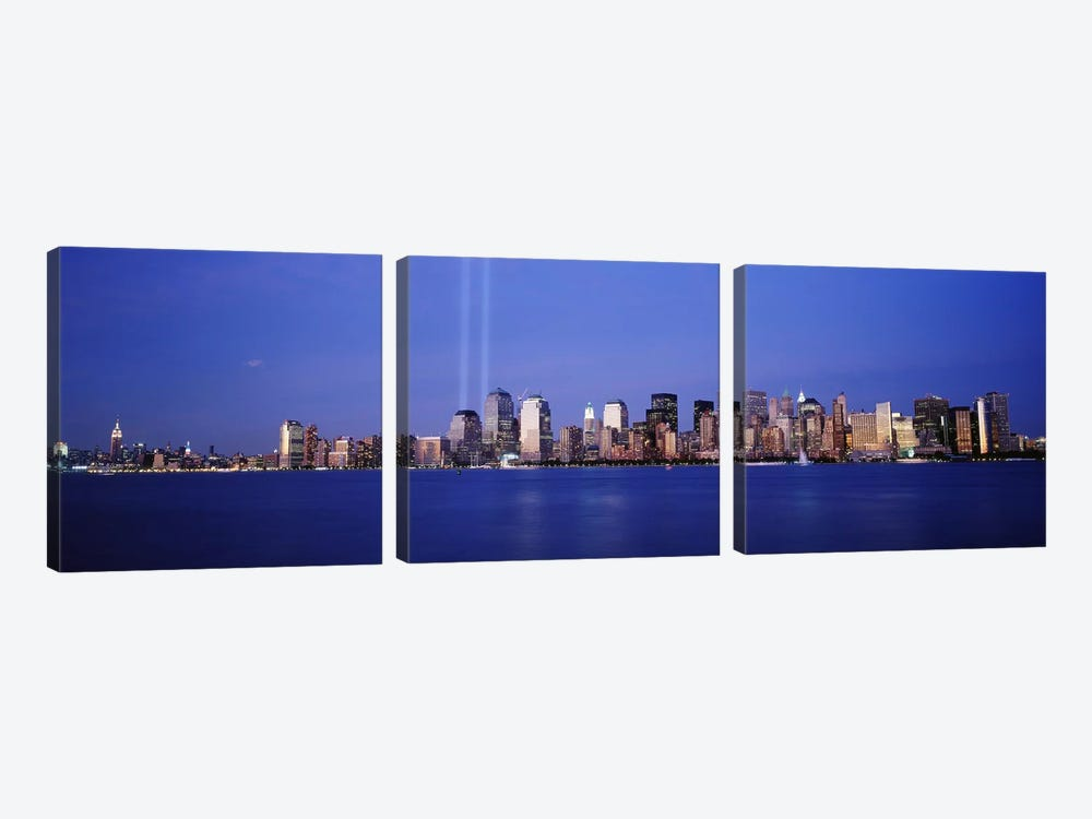 Tribute in Light, World Trade Center, Lower Manhattan, Manhattan, New York City, New York State, USA by Panoramic Images 3-piece Canvas Art