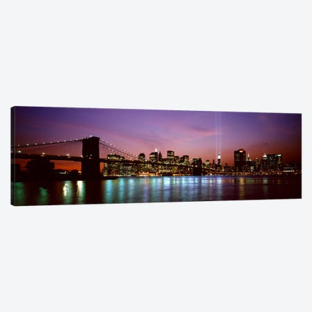 Skyscrapers lit up at night, World Trade Center, Lower Manhattan, Manhattan, New York City, New York State, USA Canvas Print #PIM9438} by Panoramic Images Canvas Art Print