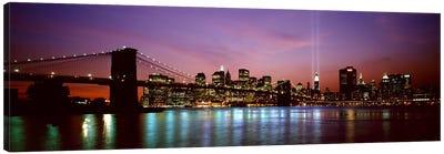 Skyscrapers lit up at night, World Trade Center, Lower Manhattan, Manhattan, New York City, New York State, USA Canvas Print #PIM9438