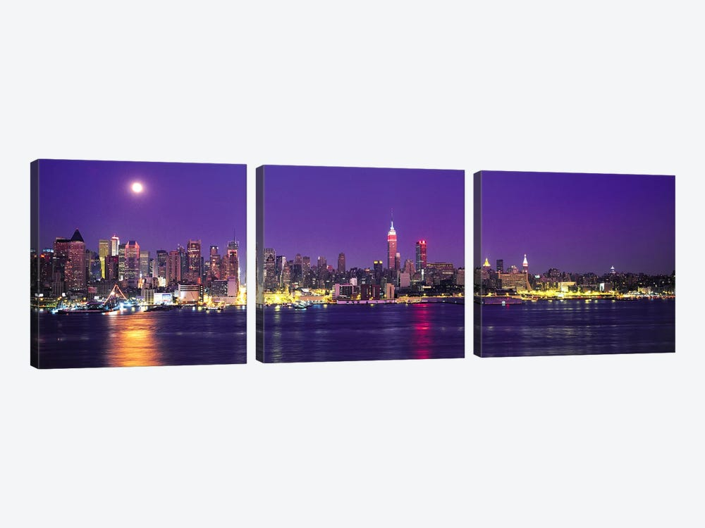 Skyscrapers at the waterfront, New York City, New York State, USA 3-piece Canvas Art