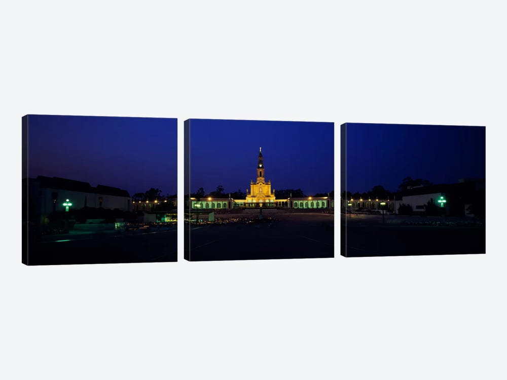 Church lit up at nightOur Lady of Fatima, Fatima, Portugal by Panoramic Images 3-piece Canvas Art Print