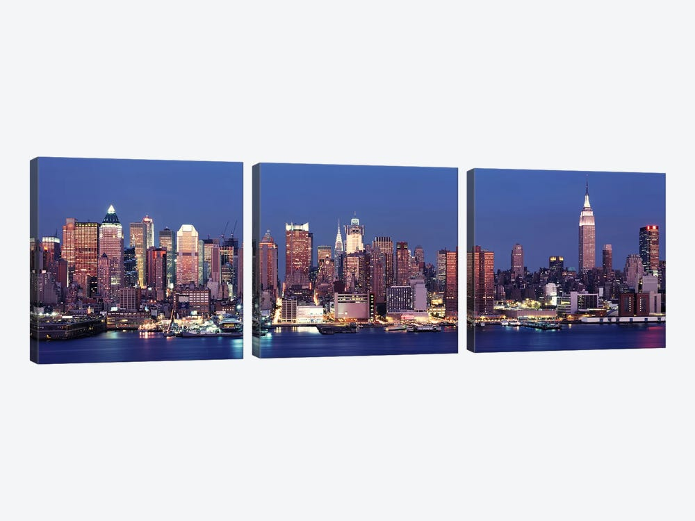 Dusk, West Side, NYC, New York City, USA by Panoramic Images 3-piece Canvas Artwork