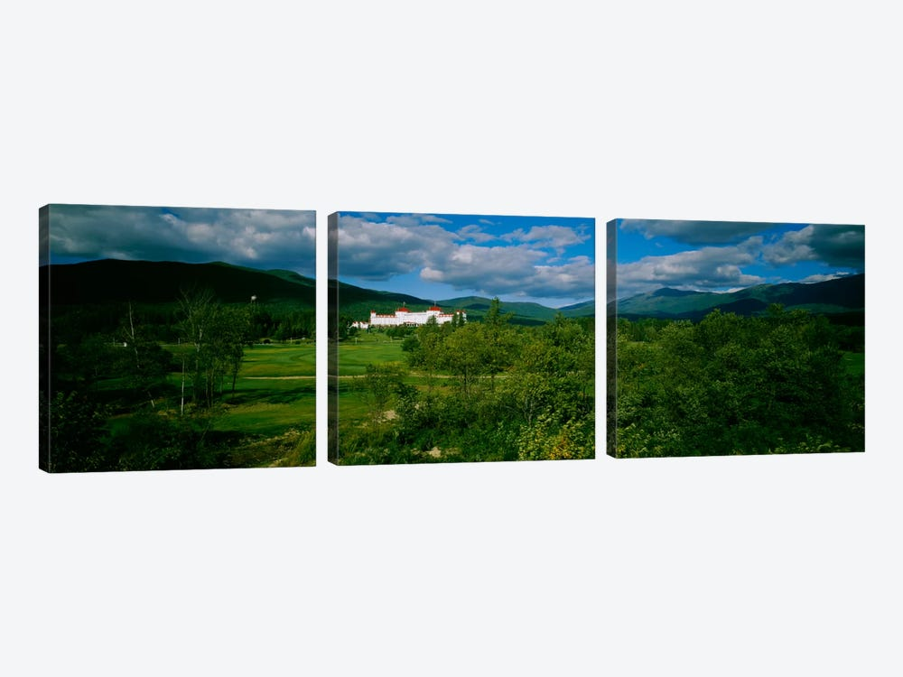 Hotel in the forestMount Washington Hotel, Bretton Woods, New Hampshire, USA by Panoramic Images 3-piece Canvas Artwork