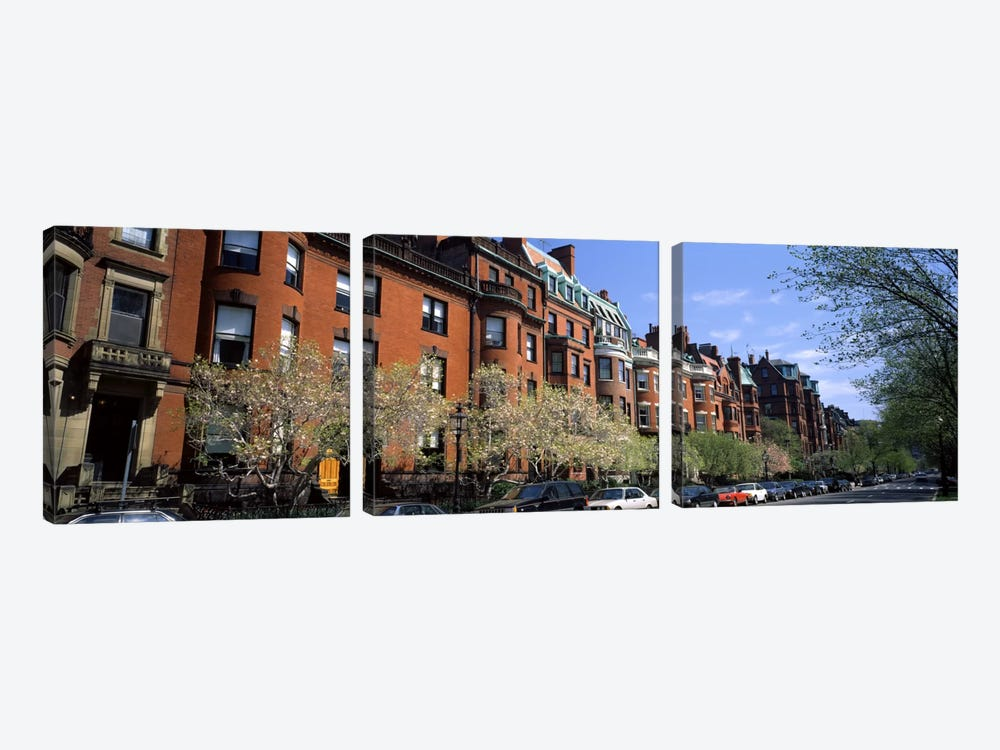 Buildings in a streetCommonwealth Avenue, Boston, Suffolk County, Massachusetts, USA by Panoramic Images 3-piece Canvas Art Print