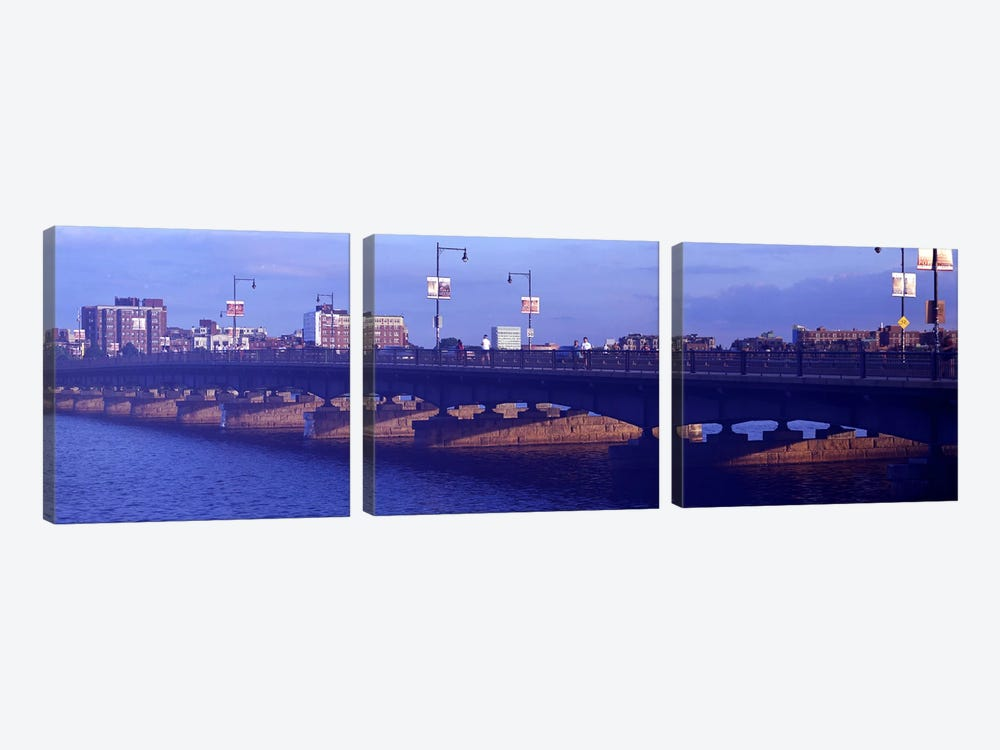 Bridge across a river, Longfellow Bridge, Charles River, Boston, Suffolk County, Massachusetts, USA by Panoramic Images 3-piece Canvas Artwork