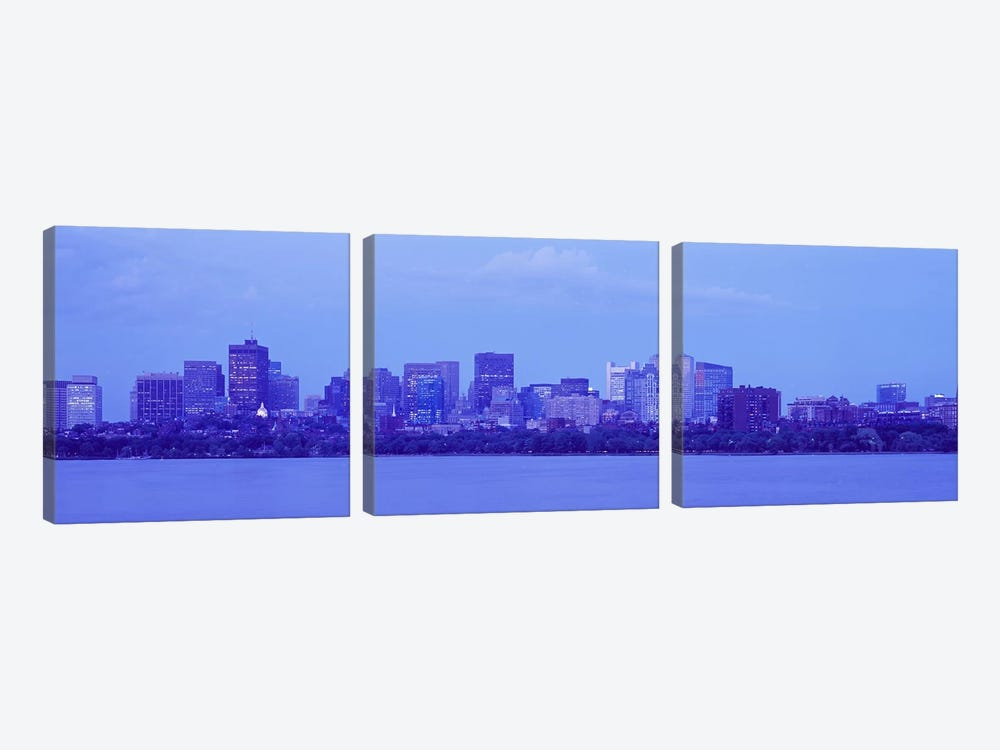 Skyscrapers at the waterfront, Charles River, Boston, Suffolk County, Massachusetts, USA by Panoramic Images 3-piece Art Print
