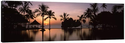 Sunset over hotel pool, Lombok, West Nusa Tenggara, Indonesia Canvas Print #PIM9487