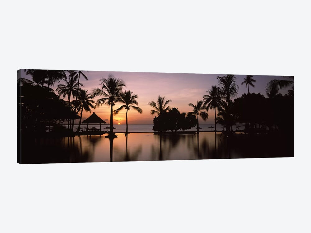Sunset over hotel pool, Lombok, West Nusa Tenggara, Indonesia by Panoramic Images 1-piece Art Print
