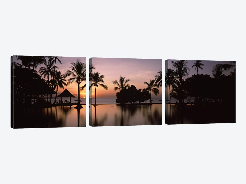 Sunset over hotel pool, Lombok, West Nusa Tenggara, Indonesia by Panoramic Images 3-piece Canvas Print