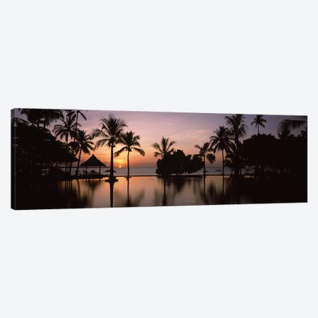 Sunset over hotel pool, Lombok, West Nusa Tenggara, Indonesia Canvas Print #PIM9487} by Panoramic Images Canvas Art Print