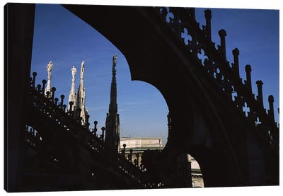 Low angle view of a cathedral, Duomo Di Milano, Milan, Lombardy, Italy Canvas Art Print
