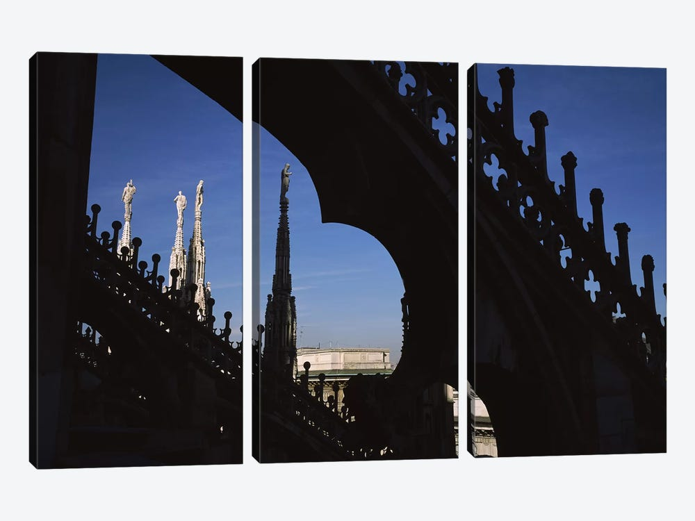 Low angle view of a cathedral, Duomo Di Milano, Milan, Lombardy, Italy by Panoramic Images 3-piece Canvas Artwork