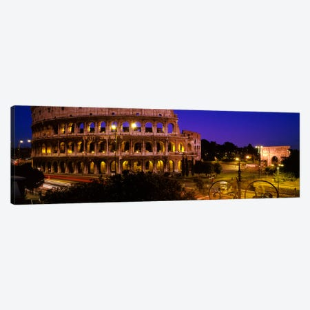 Colosseum (Flavian Amphitheatre) At Night, Rome, Lazio, Italy Canvas Print #PIM94} by Panoramic Images Canvas Artwork