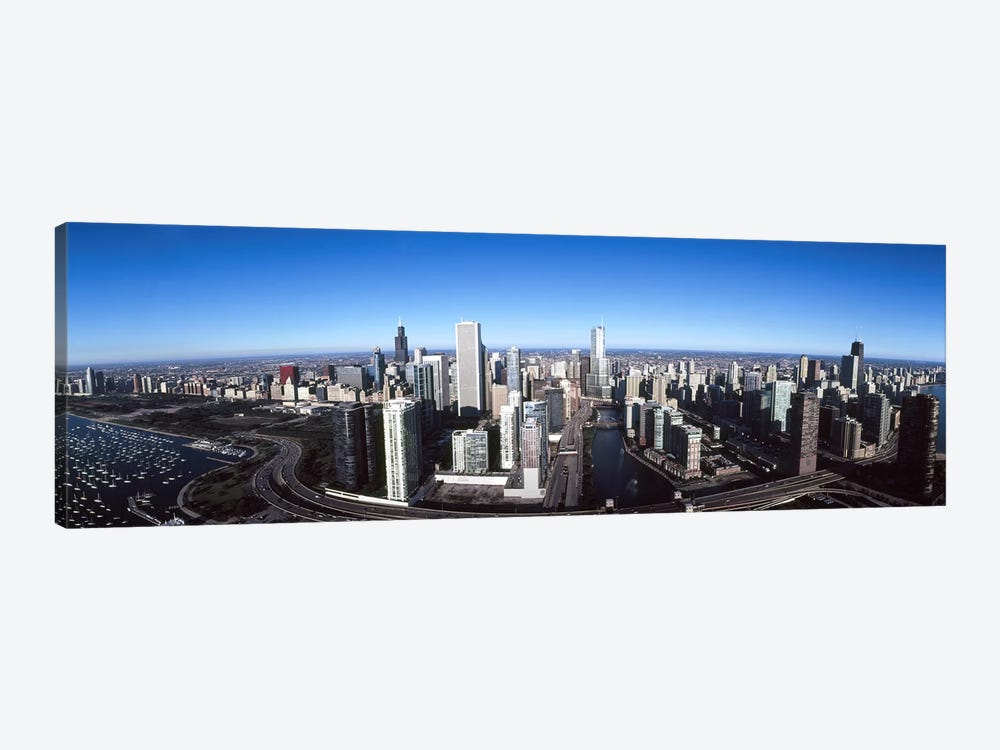 Skyscrapers in a city, Trump Tower, Chicago River, Chicago, Cook County, Illinois, USA 2011 by Panoramic Images 1-piece Canvas Print