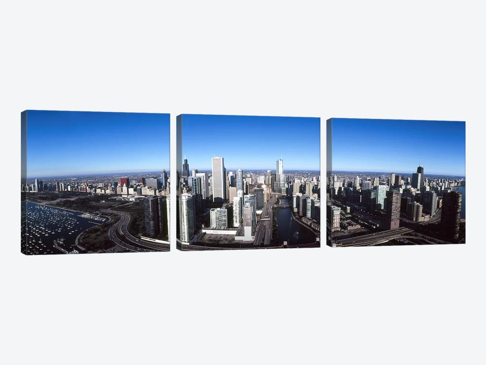 Skyscrapers in a city, Trump Tower, Chicago River, Chicago, Cook County, Illinois, USA 2011 by Panoramic Images 3-piece Canvas Print