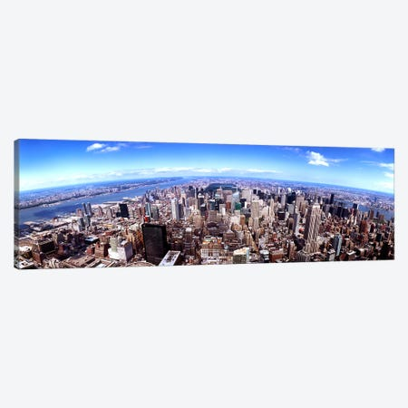 Skyscrapers in a city, Manhattan, New York City, New York State, USA 2011 Canvas Print #PIM9506} by Panoramic Images Canvas Artwork
