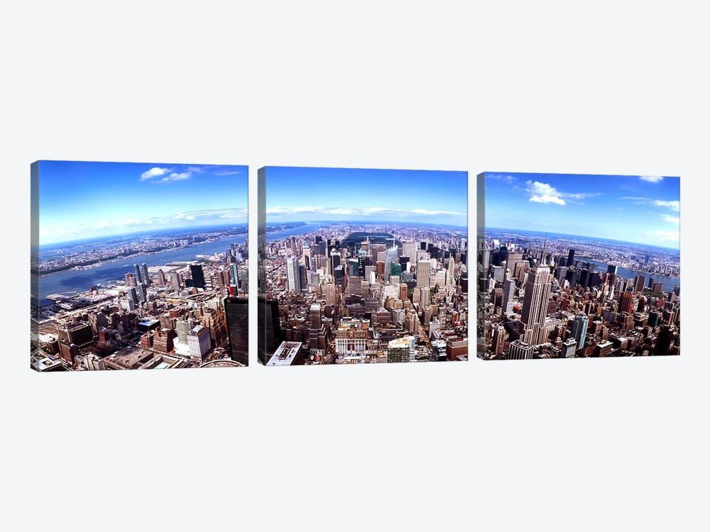 Skyscrapers in a city, Manhattan, New York City, New York State, USA 2011 by Panoramic Images 3-piece Art Print