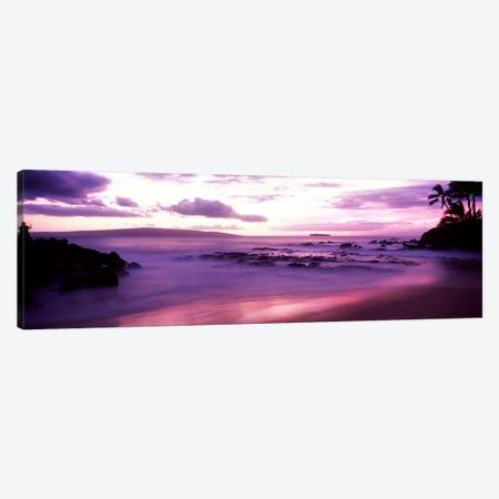 Fuchsia Coastal Sunset, Makena Beach, Maui, Hawaii, USA Canvas Print #PIM9510} by Panoramic Images Canvas Wall Art