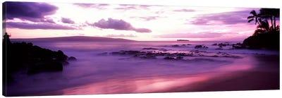 Fuchsia Coastal Sunset, Makena Beach, Maui, Hawaii, USA Canvas Art Print