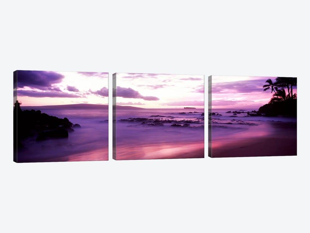 Fuchsia Coastal Sunset, Makena Beach, Maui, Hawaii, USA by Panoramic Images 3-piece Canvas Artwork