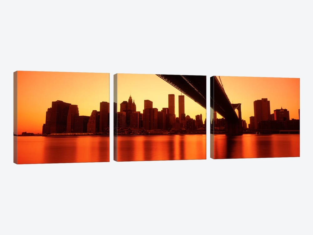 USANew York, East River and Brooklyn Bridge by Panoramic Images 3-piece Canvas Art
