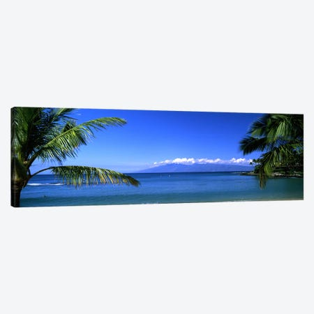 Distant View Of Molokai From Kapalua Beach, Maui, Hawaii, USA Canvas Print #PIM9540} by Panoramic Images Art Print