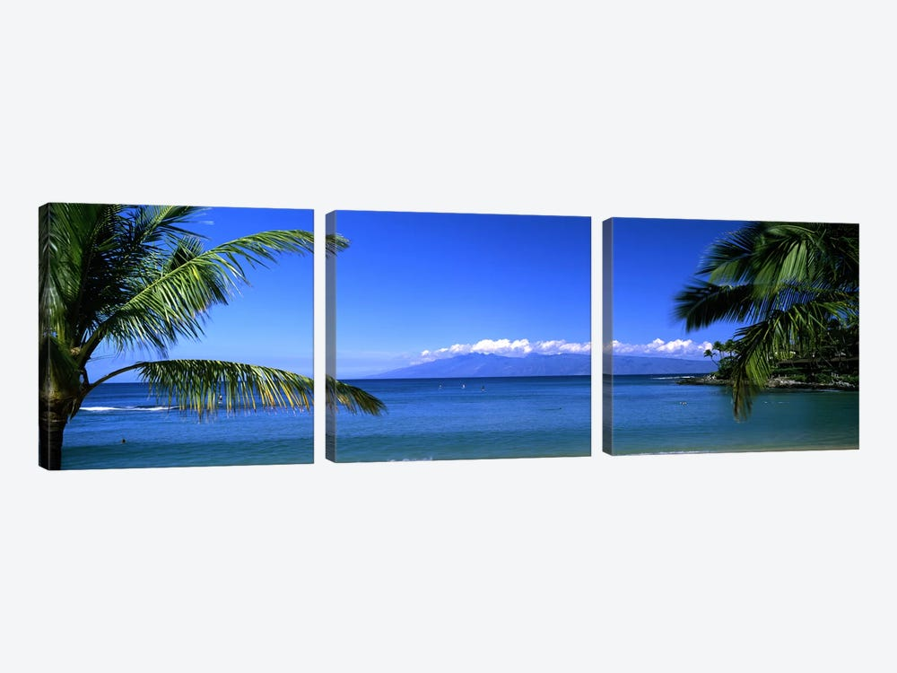 Distant View Of Molokai From Kapalua Beach, Maui, Hawaii, USA by Panoramic Images 3-piece Canvas Print