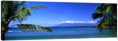 Distant View Of Molokai From Kapalua Beach, Maui, Hawaii, USA Canvas Art Print